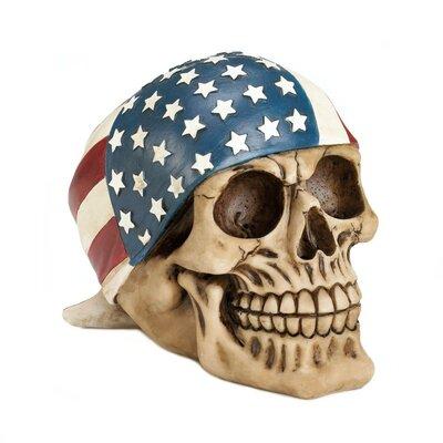 American Flag Bandana Skull Figurine