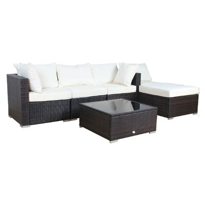 Patio 6 Piece Sectional Seating Group with Cushion