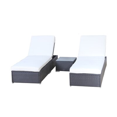 3 Piece Chaise Lounge Set with Cushion A6013-9