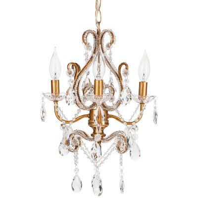 Tiffany 4-Light Crystal Chandelier Finish: Gold