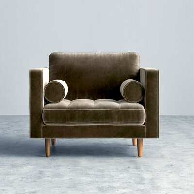 Luca Arm Chair Finish: Brown, Upholstery: Vintage Velvet - Oxford