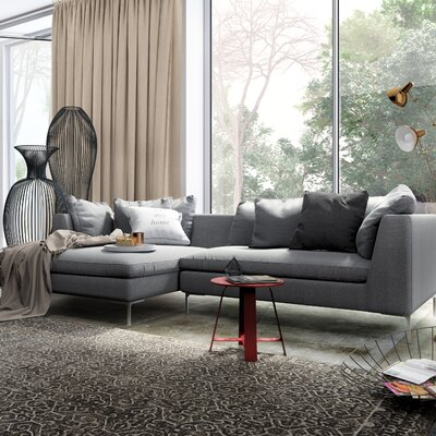 Sectional Orientation: Right Hand Facing, Upholstery: Charcoal, Leg Finish: Rose Gold