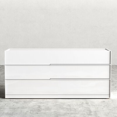 Hunter 3 Drawer Dresser Color: White Lacquer