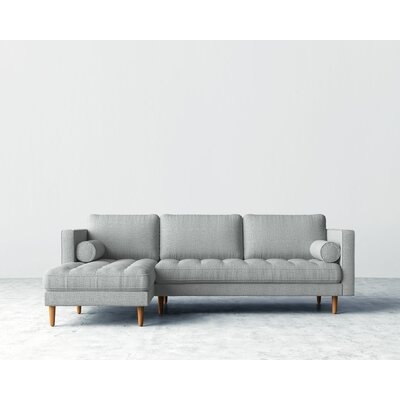 Sectional Upholstery: Harbour Mist, Orientation: Right-hand facing, Finish: Natural