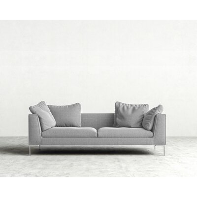Hugo Sofa Upholstery: Concrete, Leg Finish: Chrome