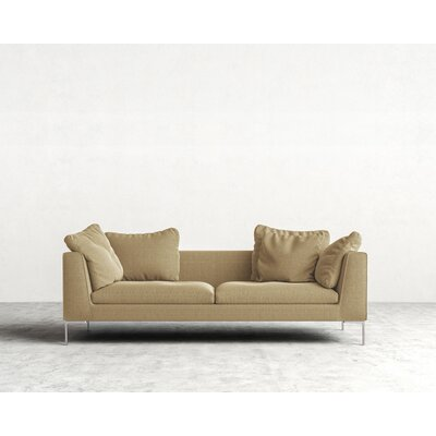 Hugo Sofa Upholstery: Hazelnut, Leg Finish: Chrome