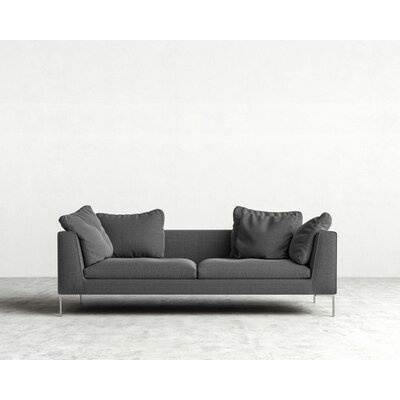 Hugo Sofa Upholstery: Dark Granite, Leg Finish: Chrome