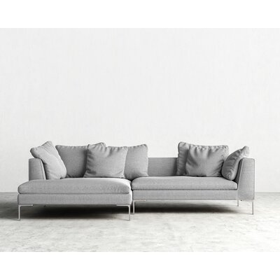 Hugo Sectional Orientation: Right Hand Facing, Upholstery: Concrete, Leg Finish: Rose Gold