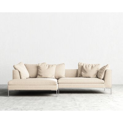 Hugo Sectional Orientation: Left Hand Facing, Upholstery: Natural, Leg Finish: Matte Black