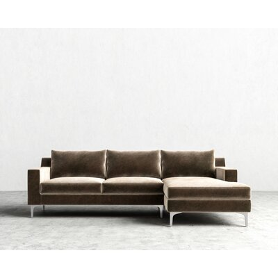 Sectional Orientation: Right Hand Facing, Upholstery: Oxford, Finish: Chrome
