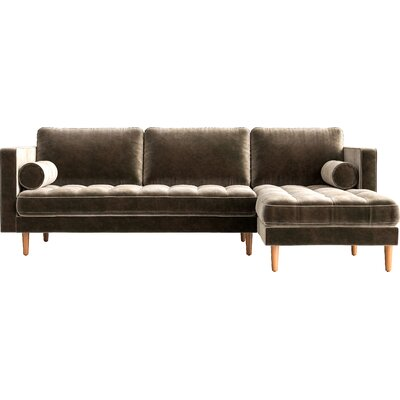 Sectional Finish: Brown, Orientation: Right-hand facing, Upholstery: Concrete