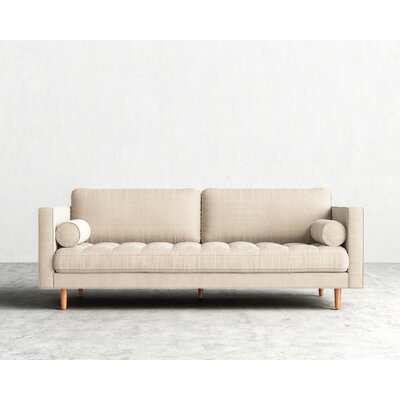 Luca Sofa Upholstery: Dust Gray, Finish: Brown