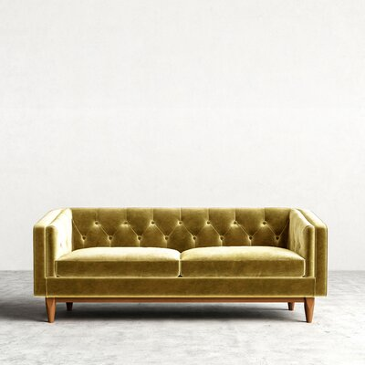 Scarlett Chesterfield Sofa Upholstery: Catania Smoke