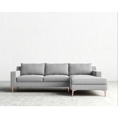 Sophia Sectional Orientation: Right Hand Facing, Upholstery: Concrete, Finish: Rose Gold
