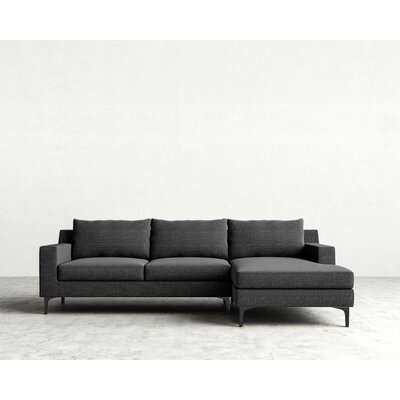 Sectional Orientation: Right Hand Facing, Upholstery: Charcoal, Finish: Matte Black