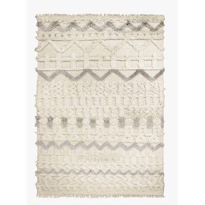 Ezra Hand-Woven Ivory Area Rug Rug Size: 53 x 76