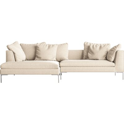 Sectional Orientation: Left Hand Facing, Upholstery: Natural, Leg Finish: Rose Gold
