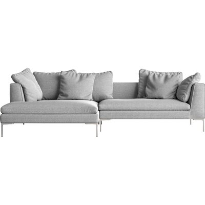 Sectional Orientation: Left Hand Facing, Upholstery: Concrete, Leg Finish: Chrome