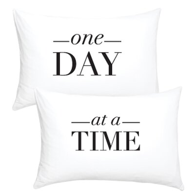 2 Piece One Day at a Time Cotton Pillowcase Set