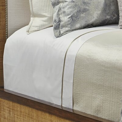 430 Thread Count Cotton Sateen Sheet Set Size: King, Color: White on White