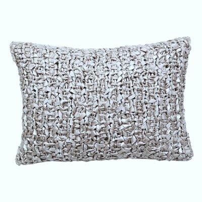 Ribbon Knit Lumbar Pillow Color: Silver