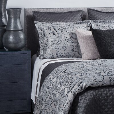 Arabesque 3 Piece Duvet Cover Set Size: Queen, Color: Charcoal/Cream