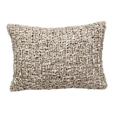 Raffia Ribbon Knit Lumbar Pillow Color: Pale Khaki