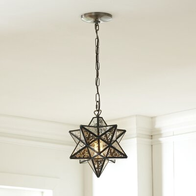 Charlton 1-Light Foyer Pendant Finish: Bronze / Antique Mercury, Size: 10 H x 9 W x 9 D