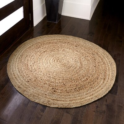 Sarina Hand-Woven Brown Area Rug Rug Size: Round 6