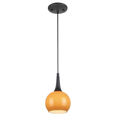 1 Light Mini Pendant Shade Color: Orange