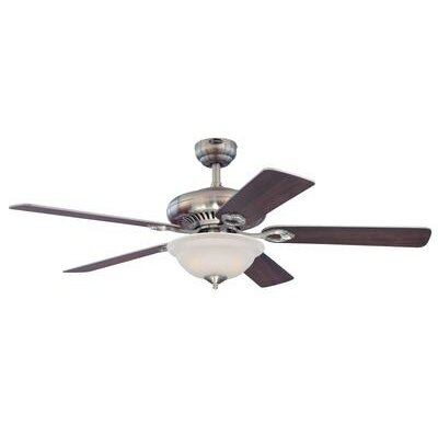 52 Fairview 5 Reversible Blade Ceiling Fan with Remote Control Finish: Brushed Nickel with Maple/Dark Cherry Blades