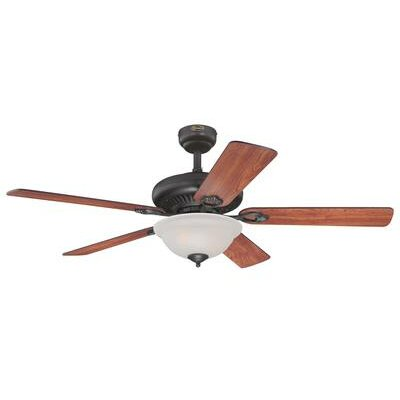 52 Fairview 5 Reversible Blade Ceiling Fan with Remote Control Finish: Oil Rubbed Bronze with Dark Cherry/Walnut Blades