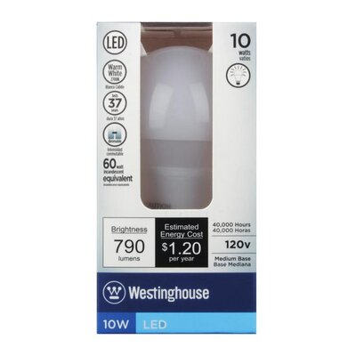 E26/Medium LED Light Bulb Wattage: 10W