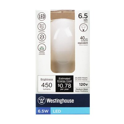 E26/Medium LED Light Bulb Wattage: 6.5W