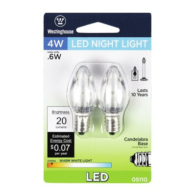 E12/Candelabra LED Light Bulb Pack of 2 Wattage: 0.6