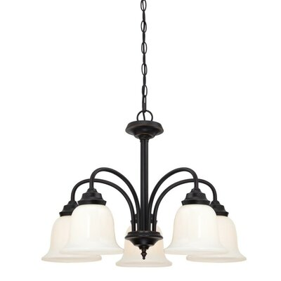 Harwell 5-Light Shaded Chandelier Finish: Amber Bronze