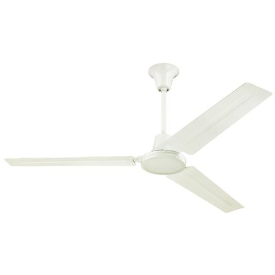 56 3-Blade Industrial Ceiling Fan Finish: Brushed Nickel, Accessories: Ball Hanger Installation System