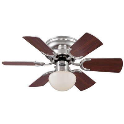 30 Petite 6 Blade Ceiling Fan Finish: Brushed Nickel with Rosewood/Light Maple Blades