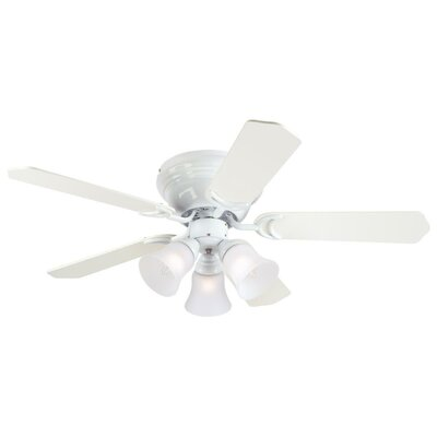 42 Contempra Trio 5 Blade Ceiling Fan Finish: White with White/White Washed Pine Blades