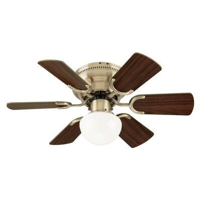 30 Petite 6 Blade Ceiling Fan Finish: Antique Brass with Walnut/Oak Blades