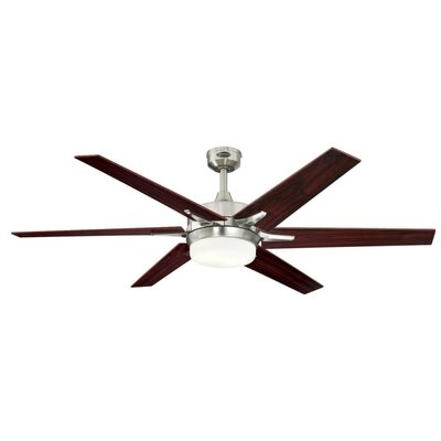 60 Cayuga 6 Blade Ceiling Fan with Remote Finish: Brushed Nickel with Rosewood/Light Maple Blades