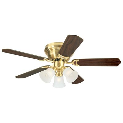 42 Contempra Trio 5 Blade Ceiling Fan Finish: Satin Brass with Walnut/Maple Blades