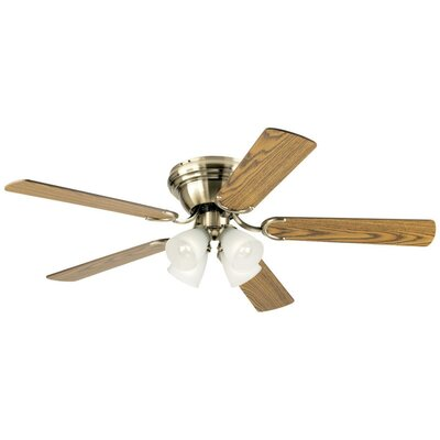 52 Contempra IV 5 Blade Ceiling Fan Finish: Antique Brass with Oak/Walnut Blades, Glass Type: Frosted Ribbed