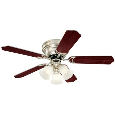 42 Contempra Trio 5 Blade Ceiling Fan Finish: Brushed Nickel with Rosewood/Maple Blades