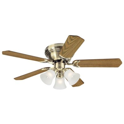42 Contempra Trio 5 Blade Ceiling Fan Finish: Antique Brass with Oak/Walnut Blades