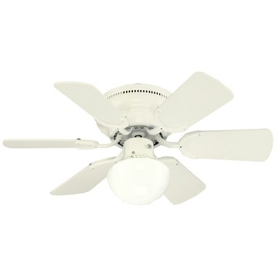 30 Petite 6 Blade Ceiling Fan Finish: White with White/White Washed Pine Blades