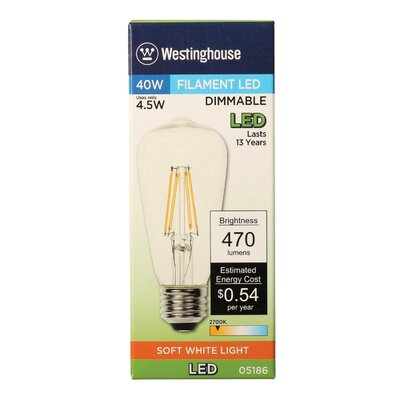 E26 Medium Base LED Vintage Filament Light Bulb Wattage: 40