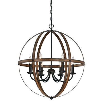 Joon Indoor 6-Light LED Candle Style Chandelier Finish: Barnwood/Oil Rubbed Bronze
