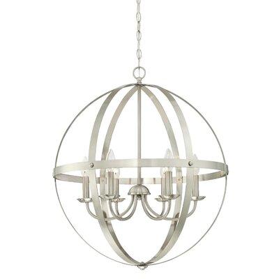 Burtville Indoor 6-Light Candle- Style Chandelier Finish: Brushed Nickel
