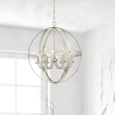 Joon Indoor 6-Light LED Candle Style Chandelier Finish: Brushed Nickel